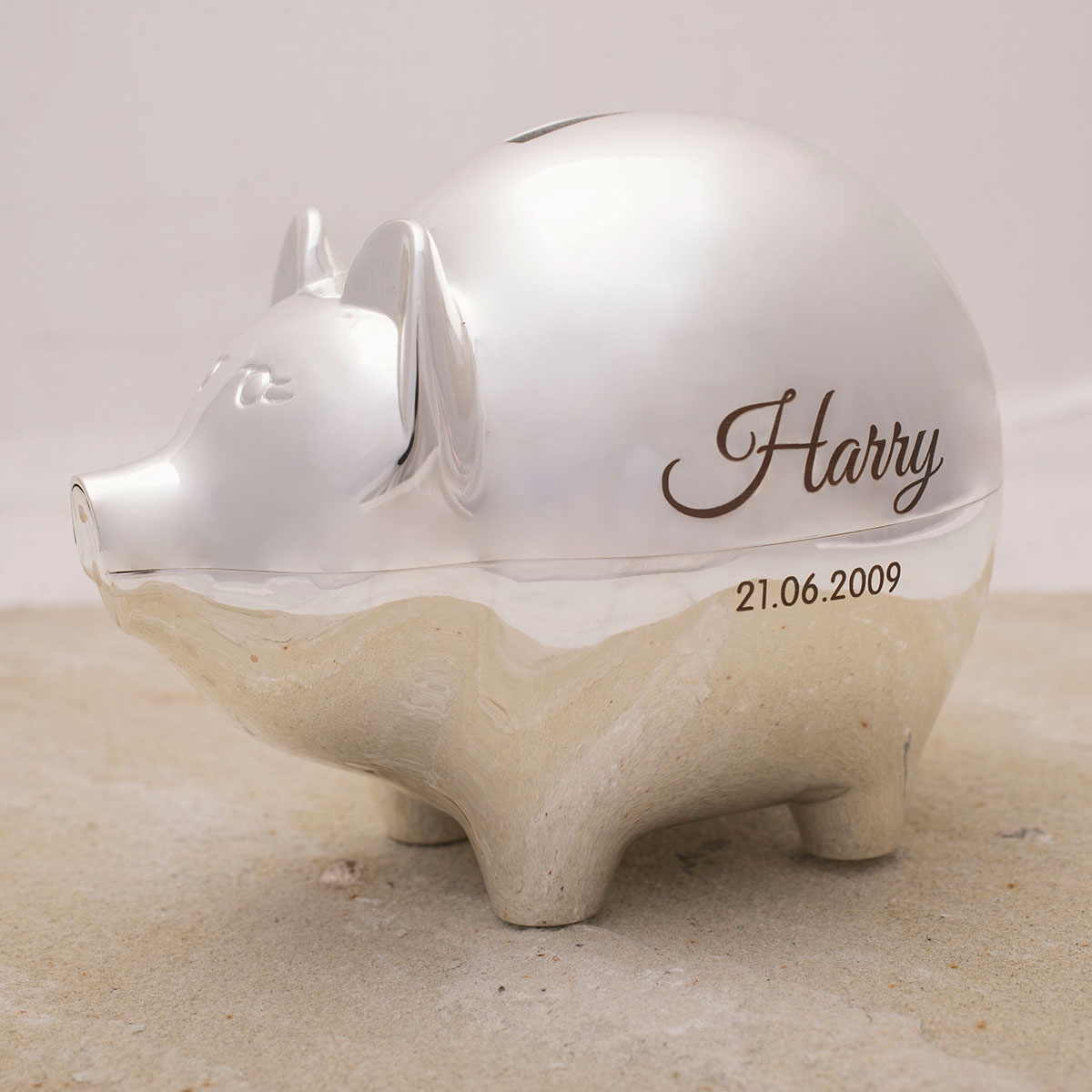 Personalised SilverPlated Piggy Bank