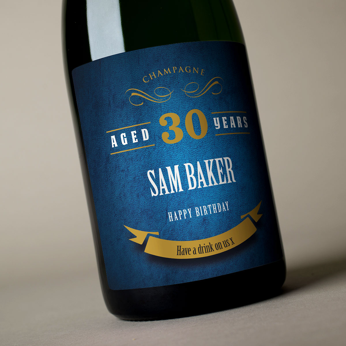 Image of Luxury Personalised Champagne - 30th Birthday Blue Label