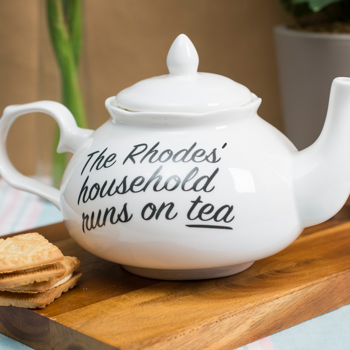 Personalised Bone China Fancy Teapot  Household Runs On Tea
