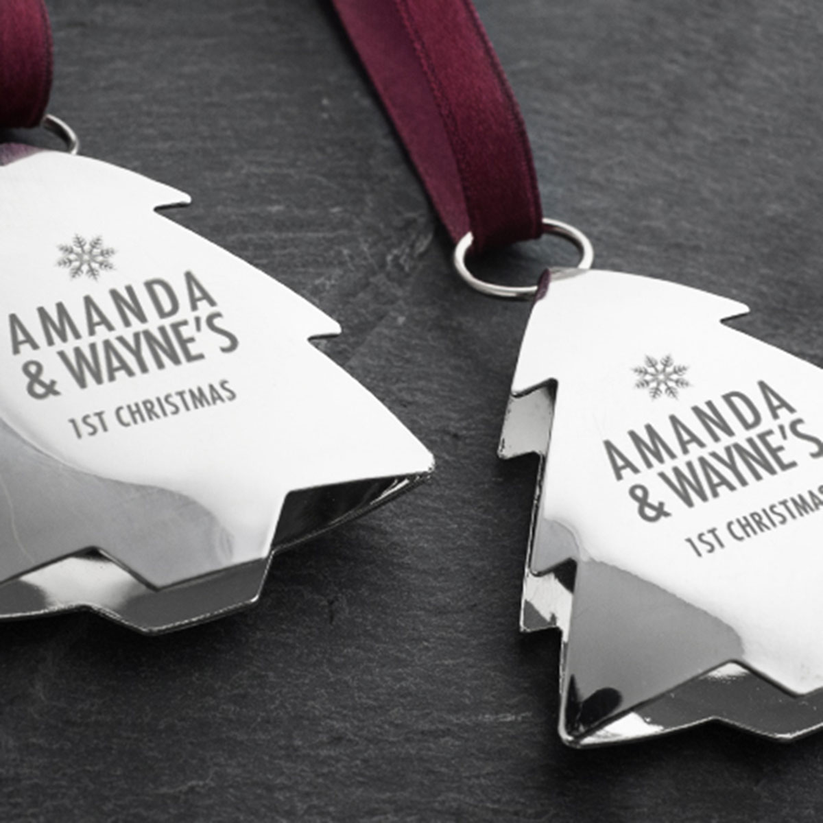 Set Of 2 Engraved Silver Christmas Ornaments – Tree ...