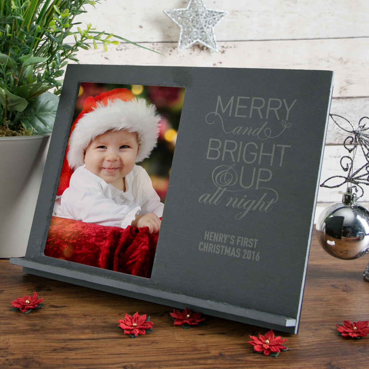 Image of Engraved Slate Chalk Board Photo Frame - Merry And Bright & Up All Night