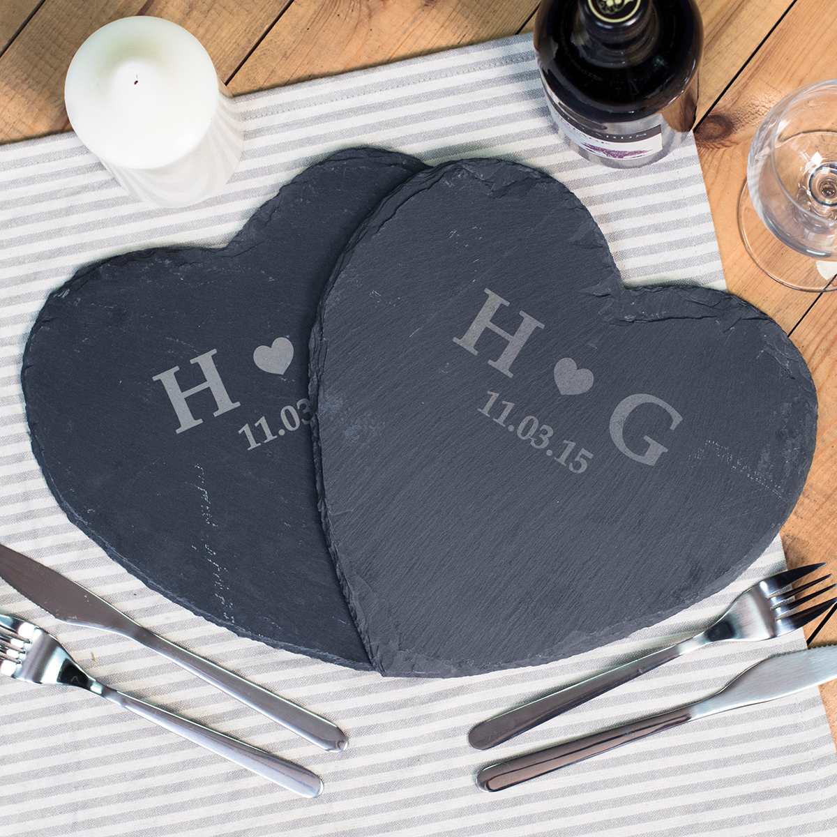 Image of Engraved Set Of 2 Heart-Shaped Slate Placemats - Heart Initials