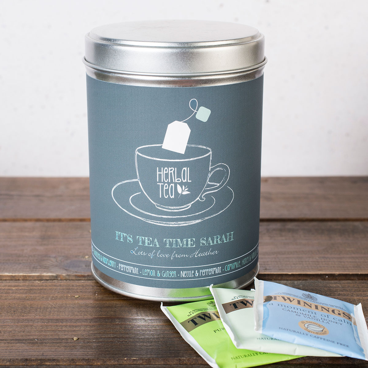 Personalised Herbal Tea Tin  Tea Time