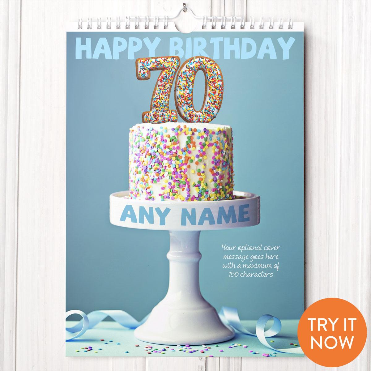 Image of Personalised 70th Birthday Calendar