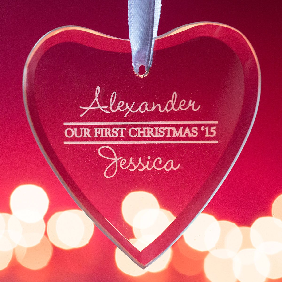 Personalised Hanging Glass Heart Keepsake - Our First Christmas
