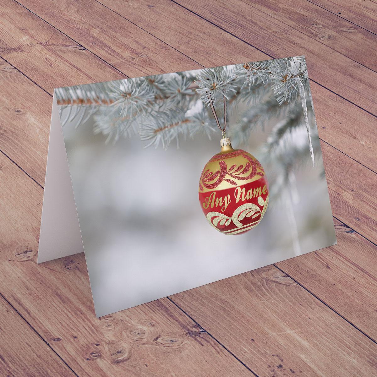 Personalised Christmas Card - Seasonal Bauble