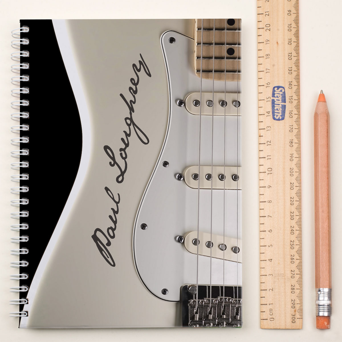 Personalised Notebook  Cream Guitar