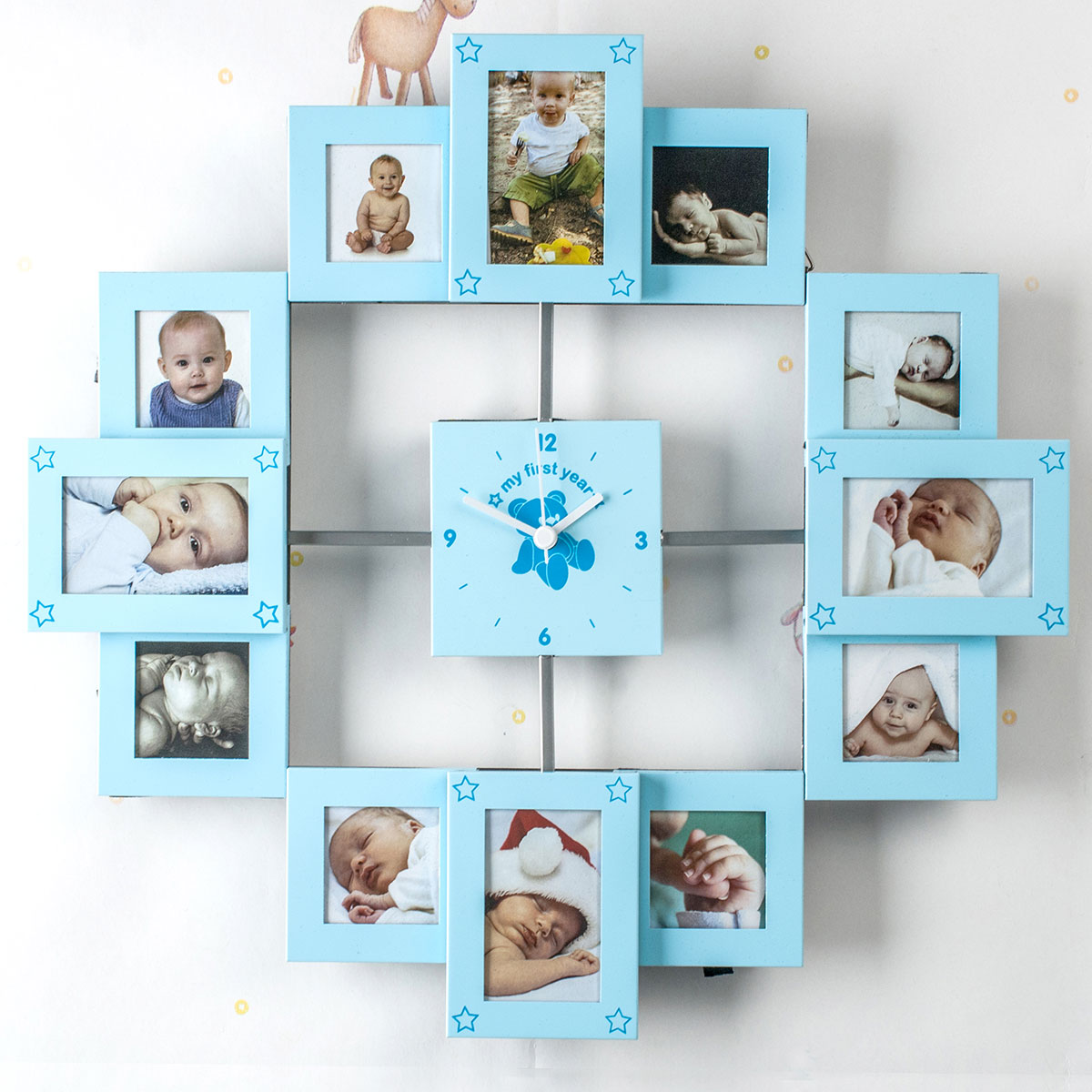 My First Year Collage Clock for Baby Boys