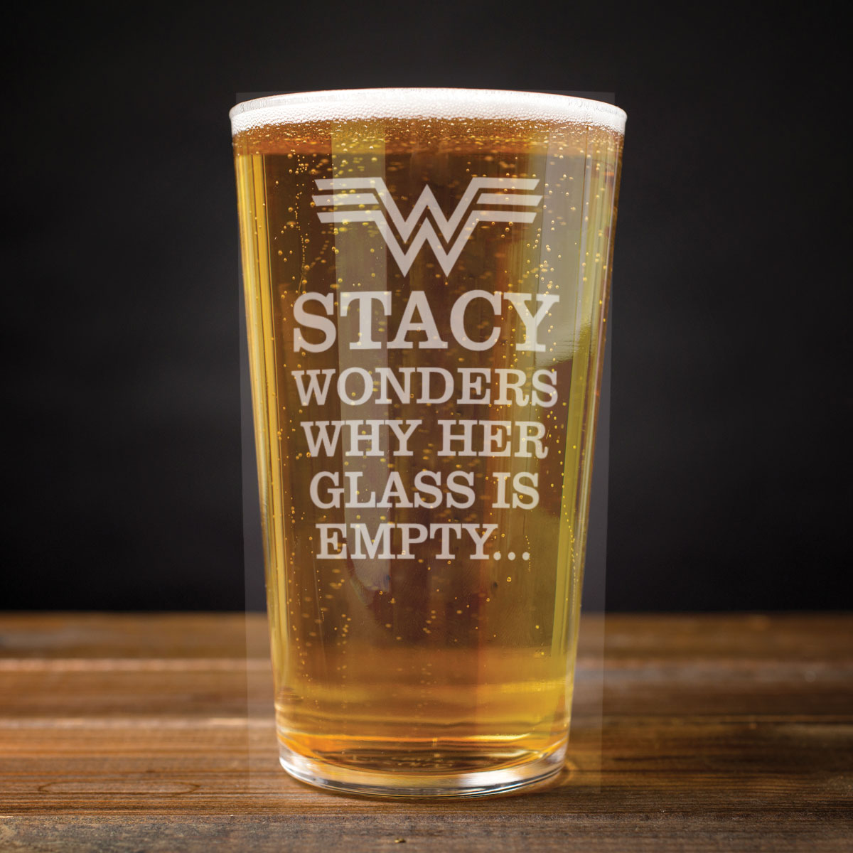 Personalised Pint Glass  Wonders Why