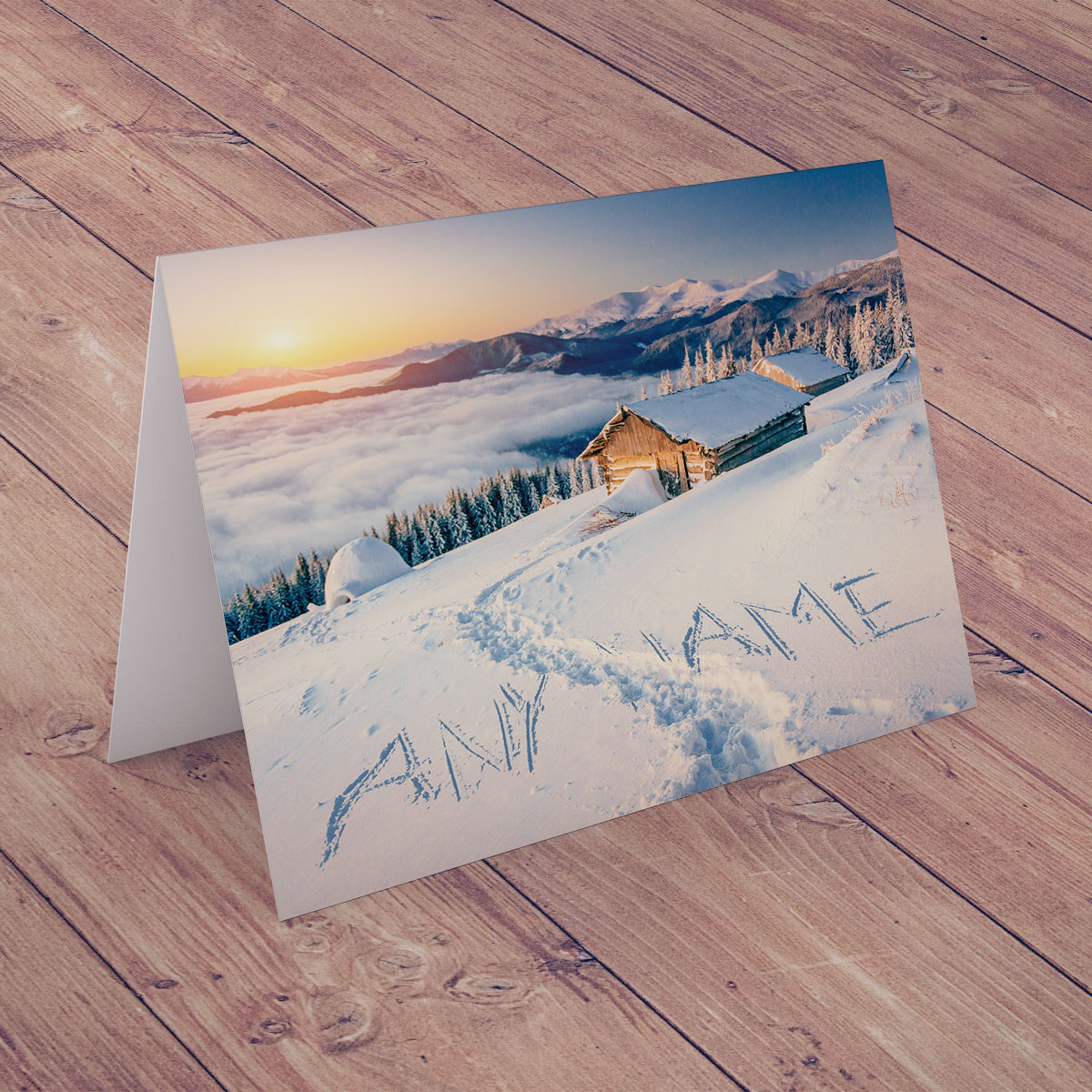 Personalised Christmas Card - Seasonal Snow Scene
