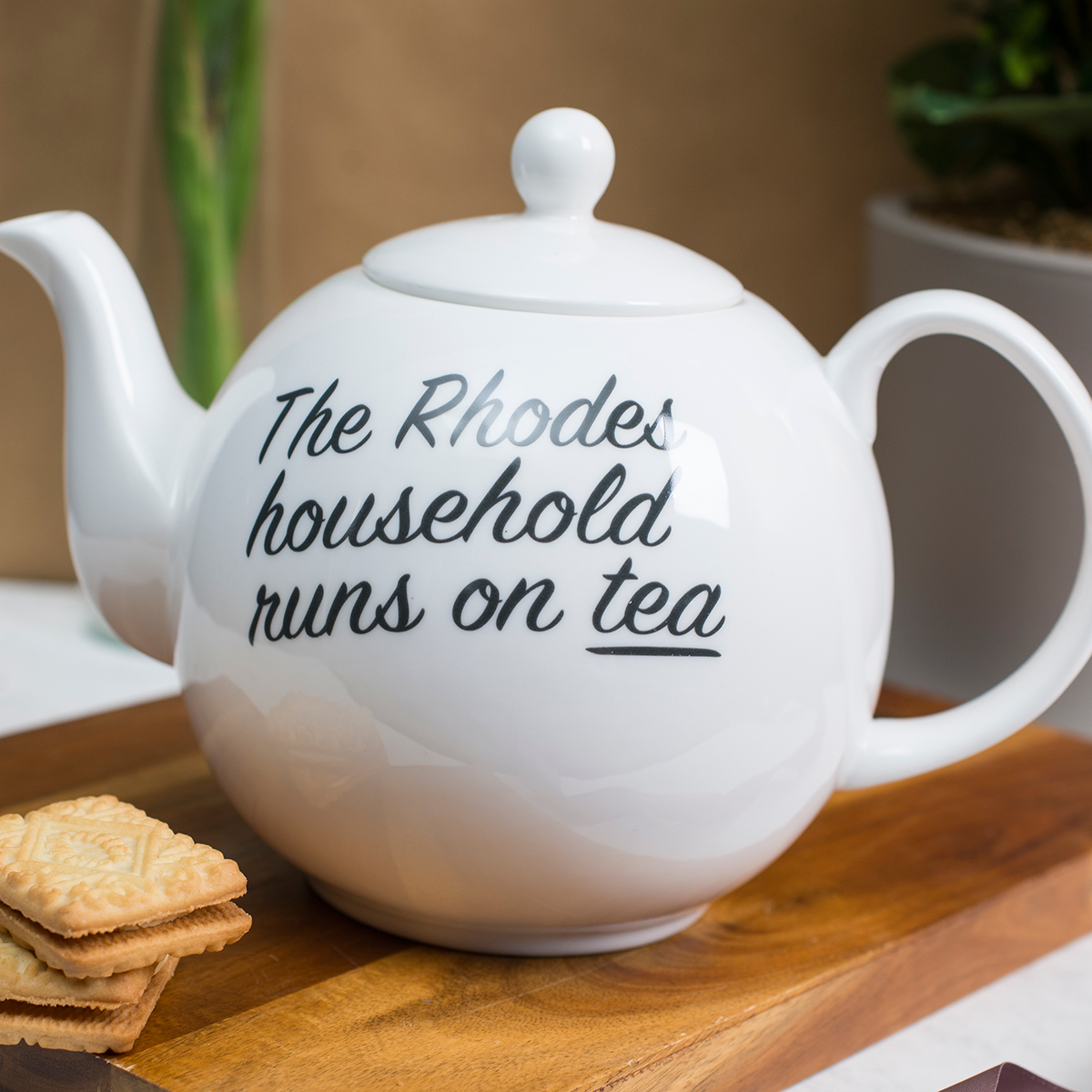 Personalised Bone China Teapot  Household Runs On Tea