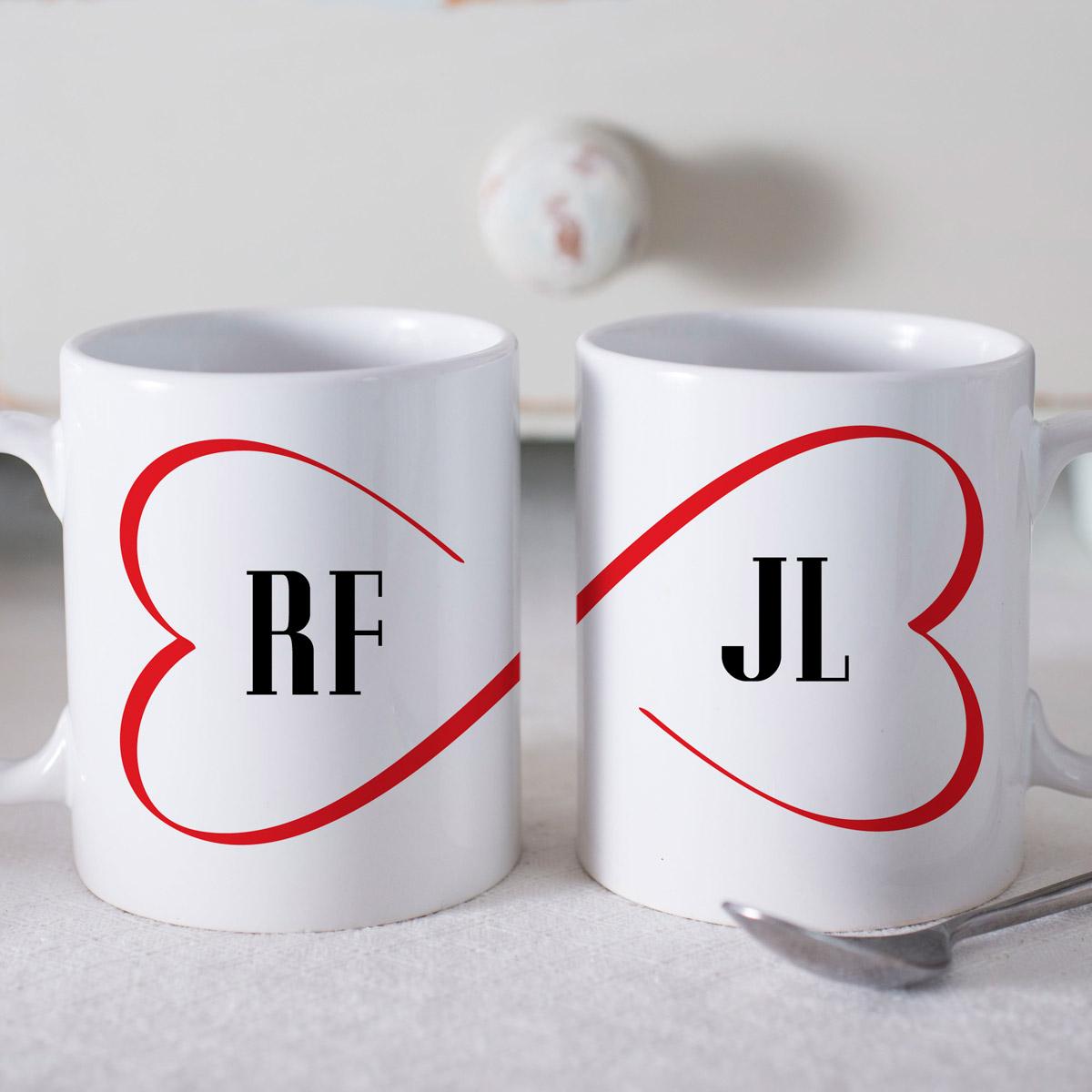 Personalised Mug Gift Set  Joined Hearts