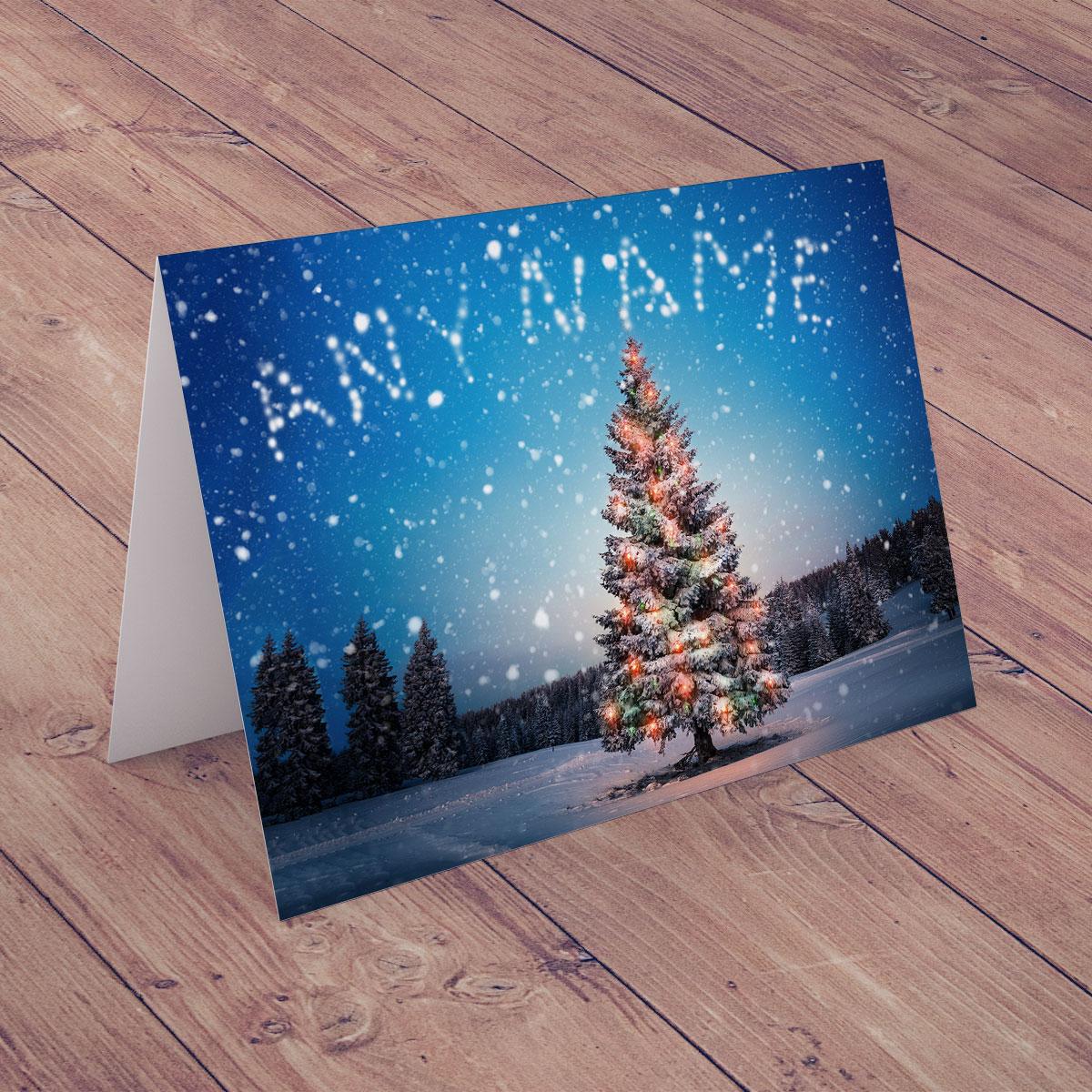 Personalised Christmas Card - Snowy Christmas Tree