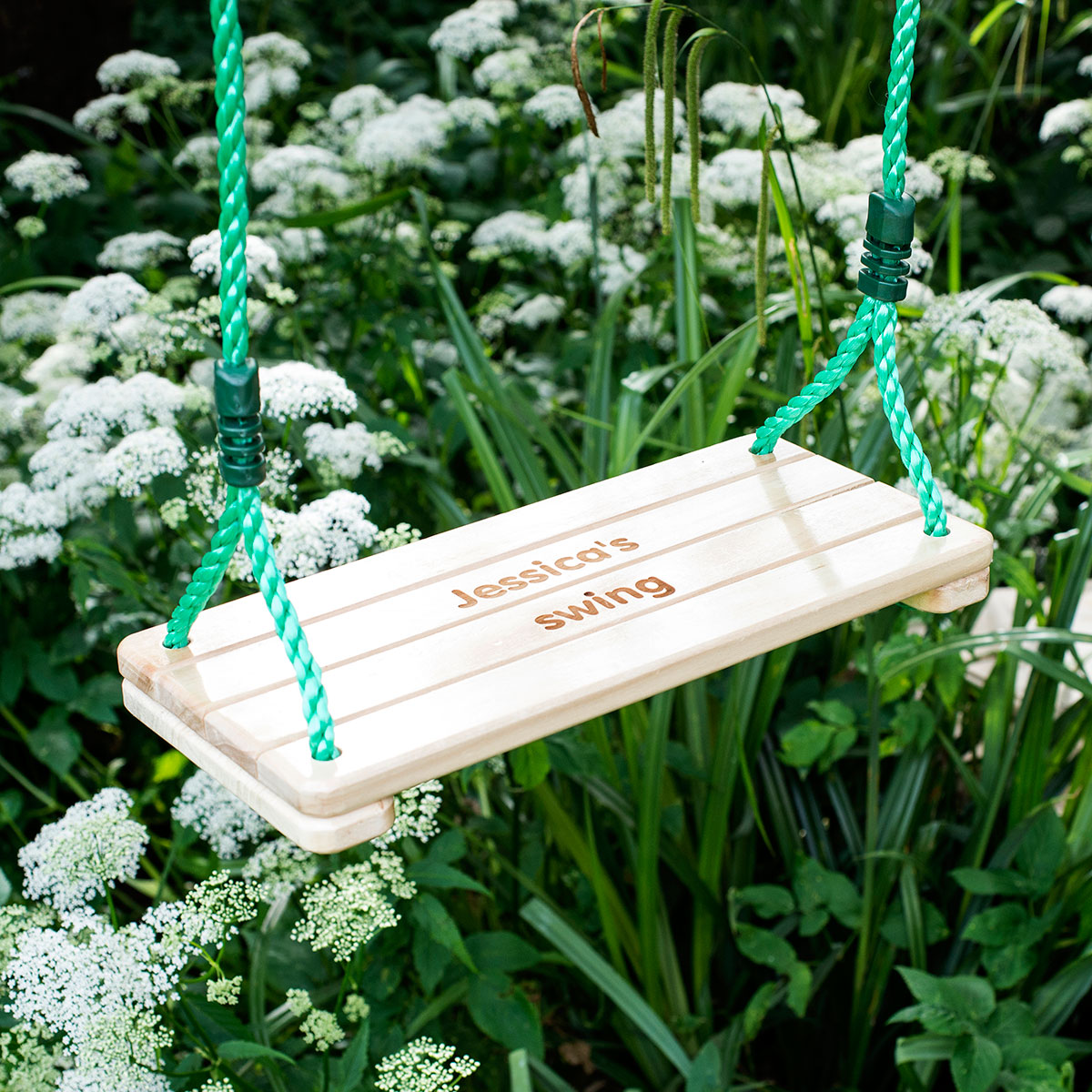 Image of Engraved Wooden Children's Flat Swing