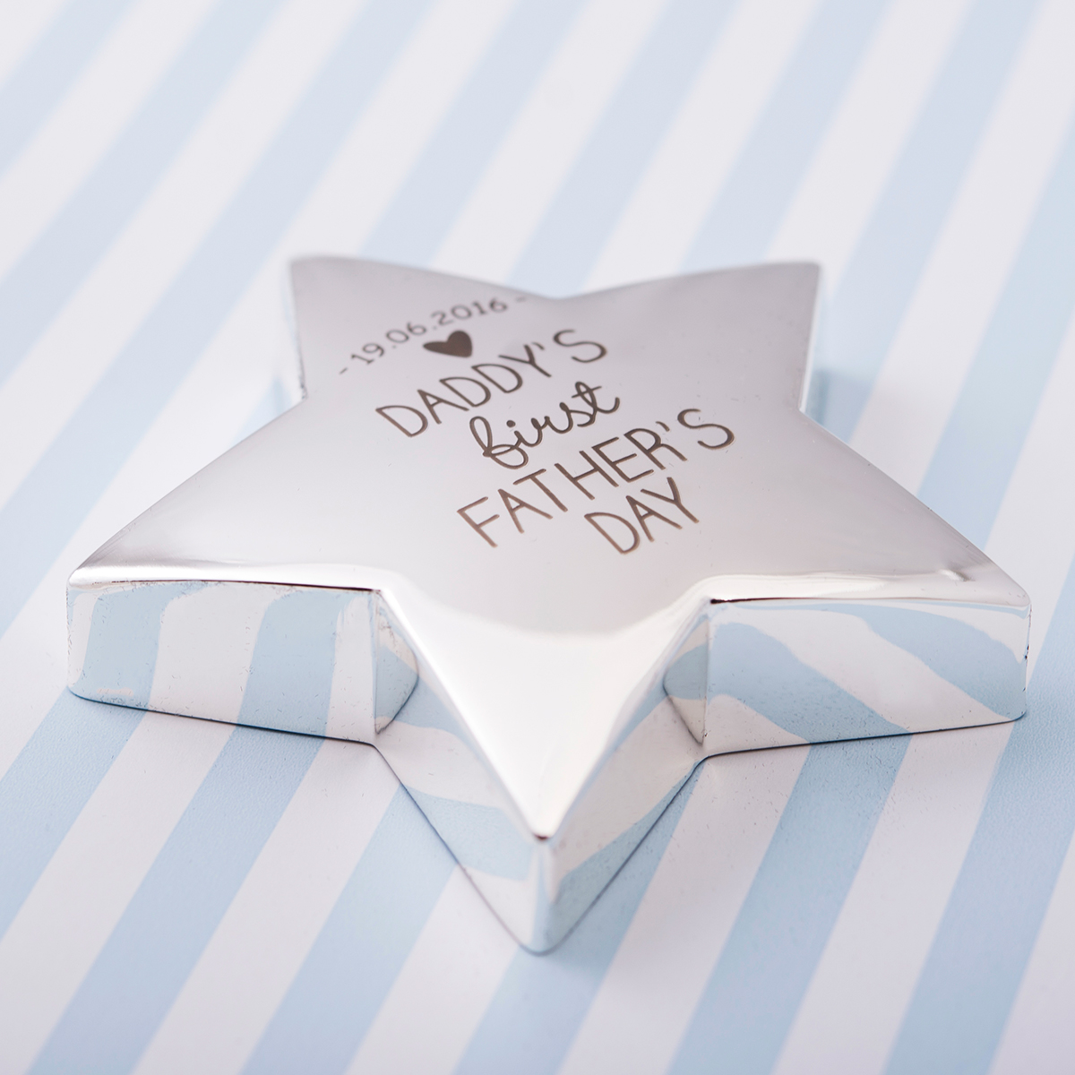 Engraved Silver Star Paperweight  Daddys First Fathers Day