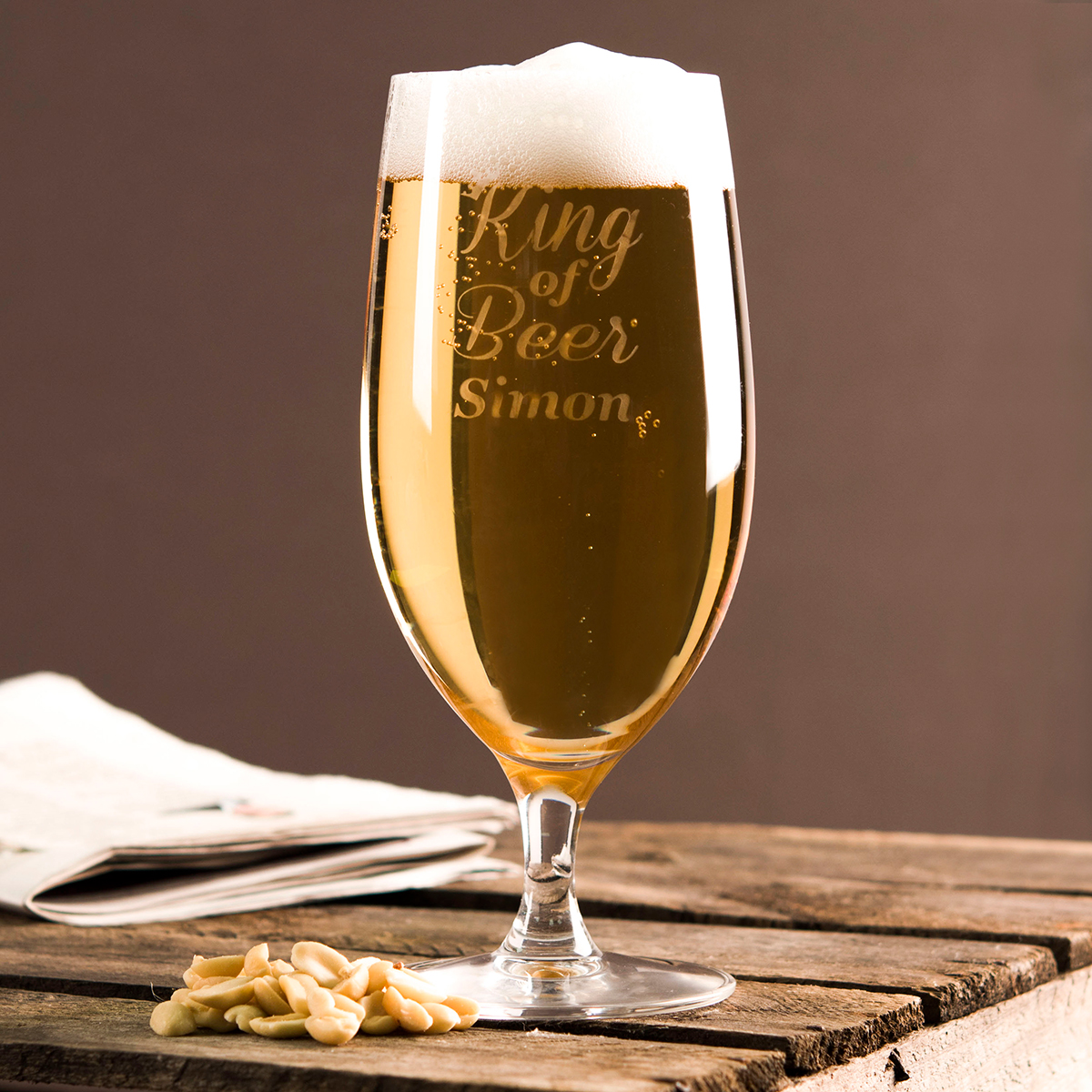 Personalised Cabernet Stem Beer Glass  King of Beer