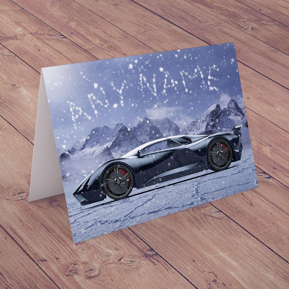 Personalised Christmas Card - Snowy Dream Car