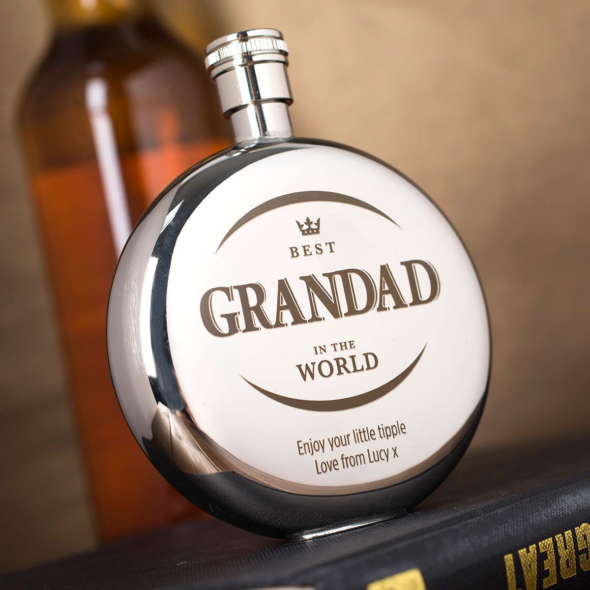 Engraved Round Hip Flask  Best Grandad