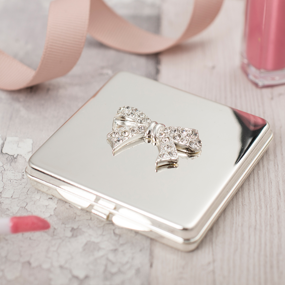 Engraved Compact Mirror With Crystal Bow