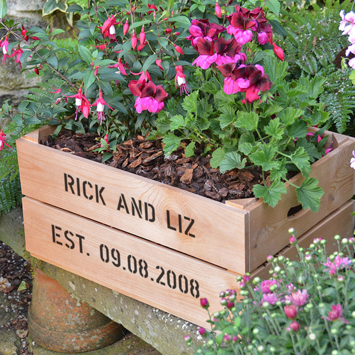 Personalised Apple Crate Planter  Anniversary
