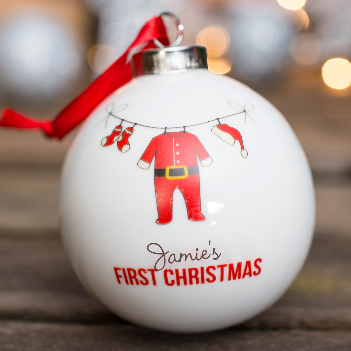 Personalised Bauble  Baby Santa Suit