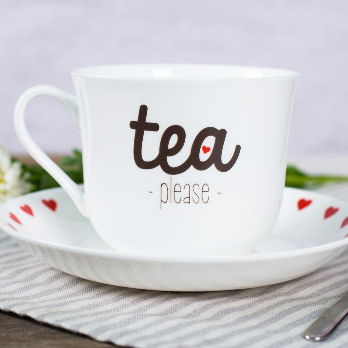 Personalised Tea Cup & Saucer  Tea Please