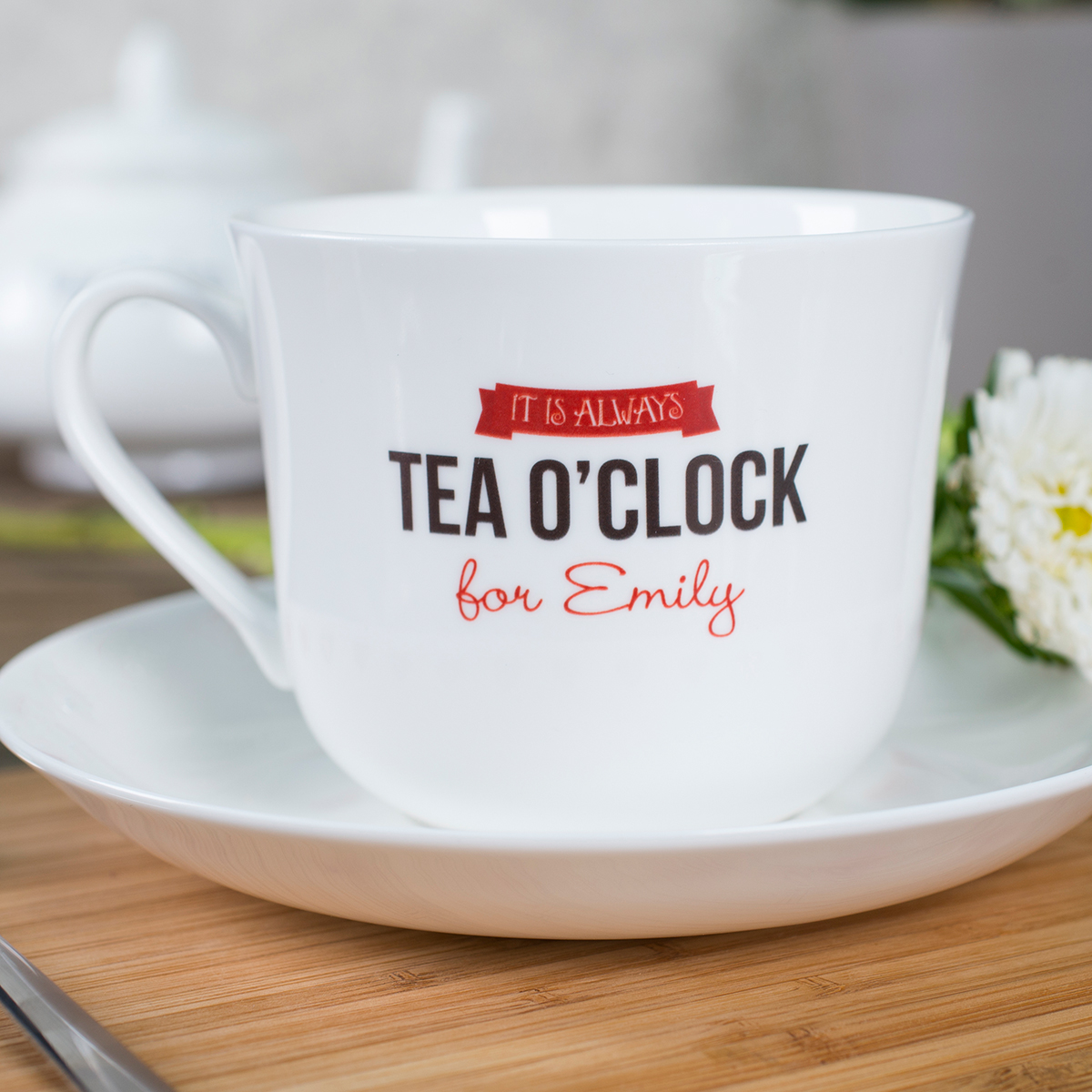 Personalised Tea Cup & Saucer  Tea OClock