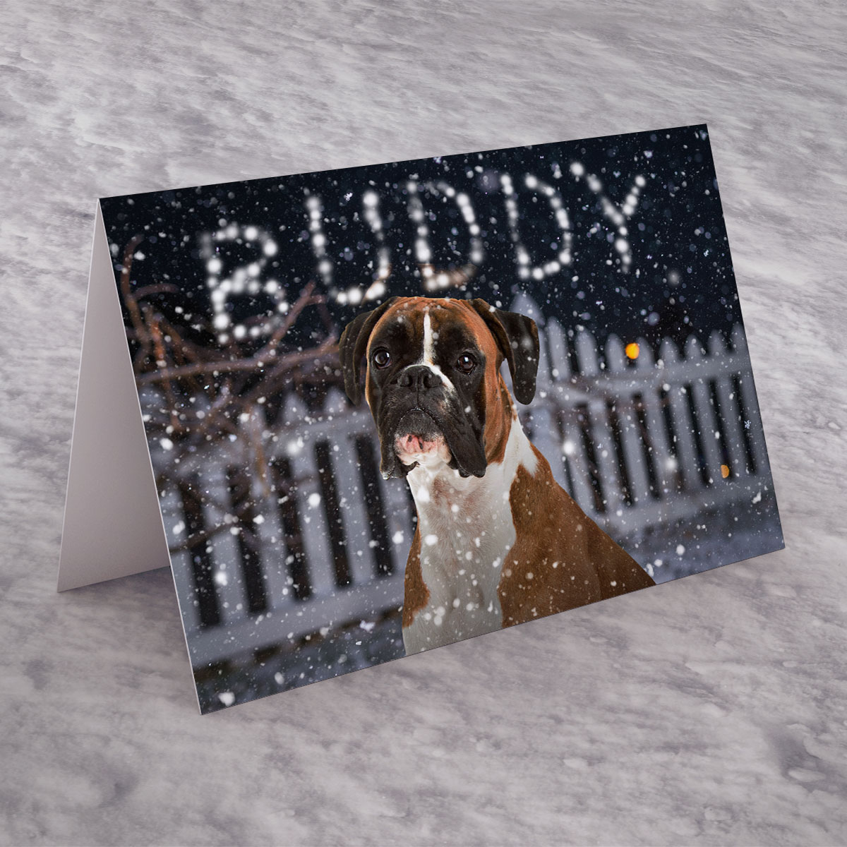 Personalised Christmas Card - Boxer Dog, Snow