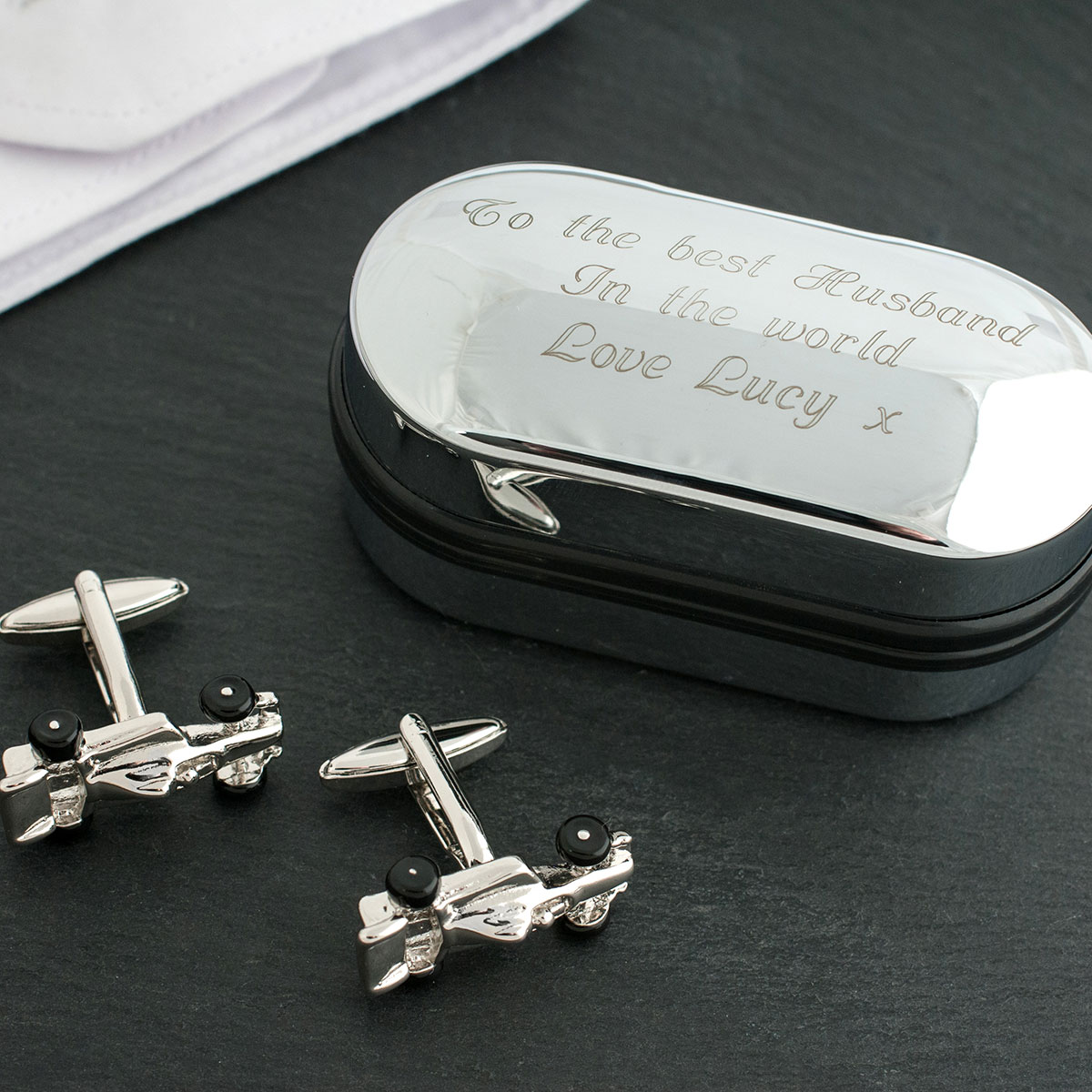 Image of 3D Cufflinks in Personalised Box - Formula One