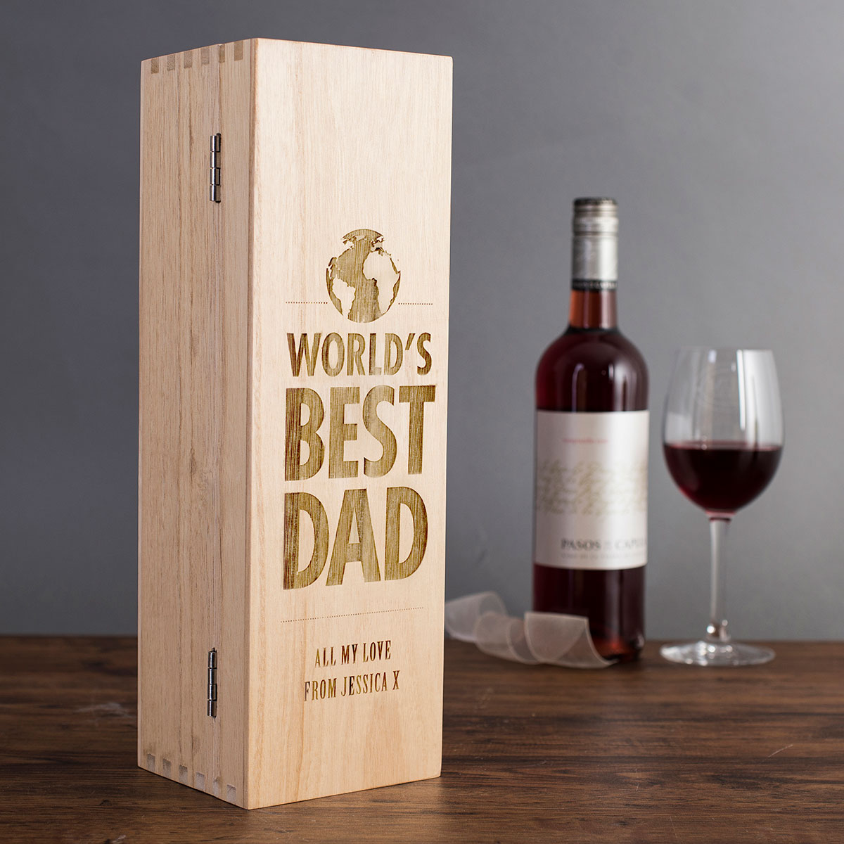 Personalised Luxury Wooden Wine Box - World\'s Best Dad