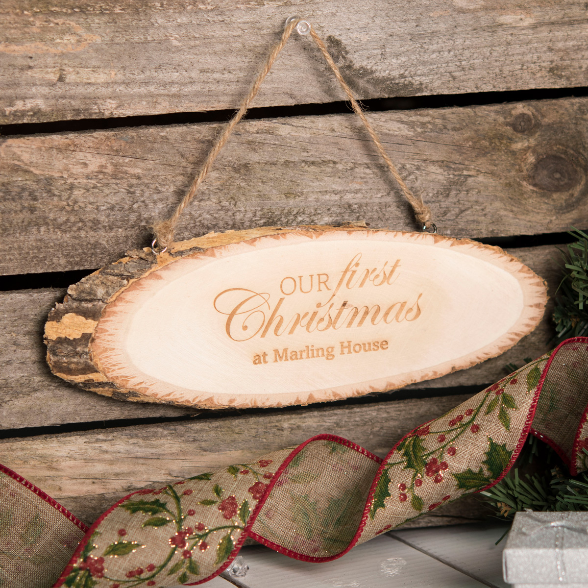 Personalised Hanging Natural Wooden Sign - Our First Christmas