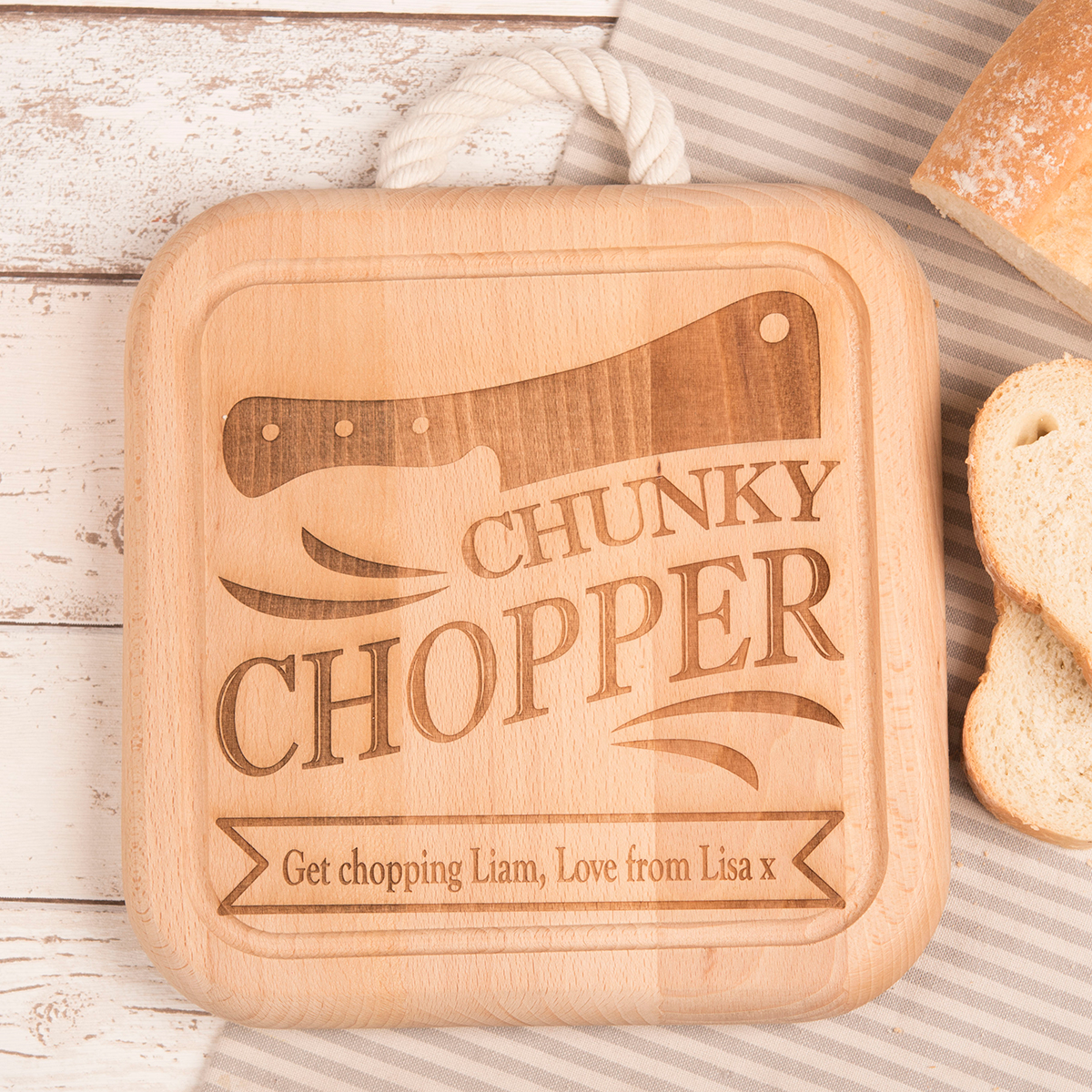 Engraved Wooden Square Board With Rope Handle  Chunky Chopper