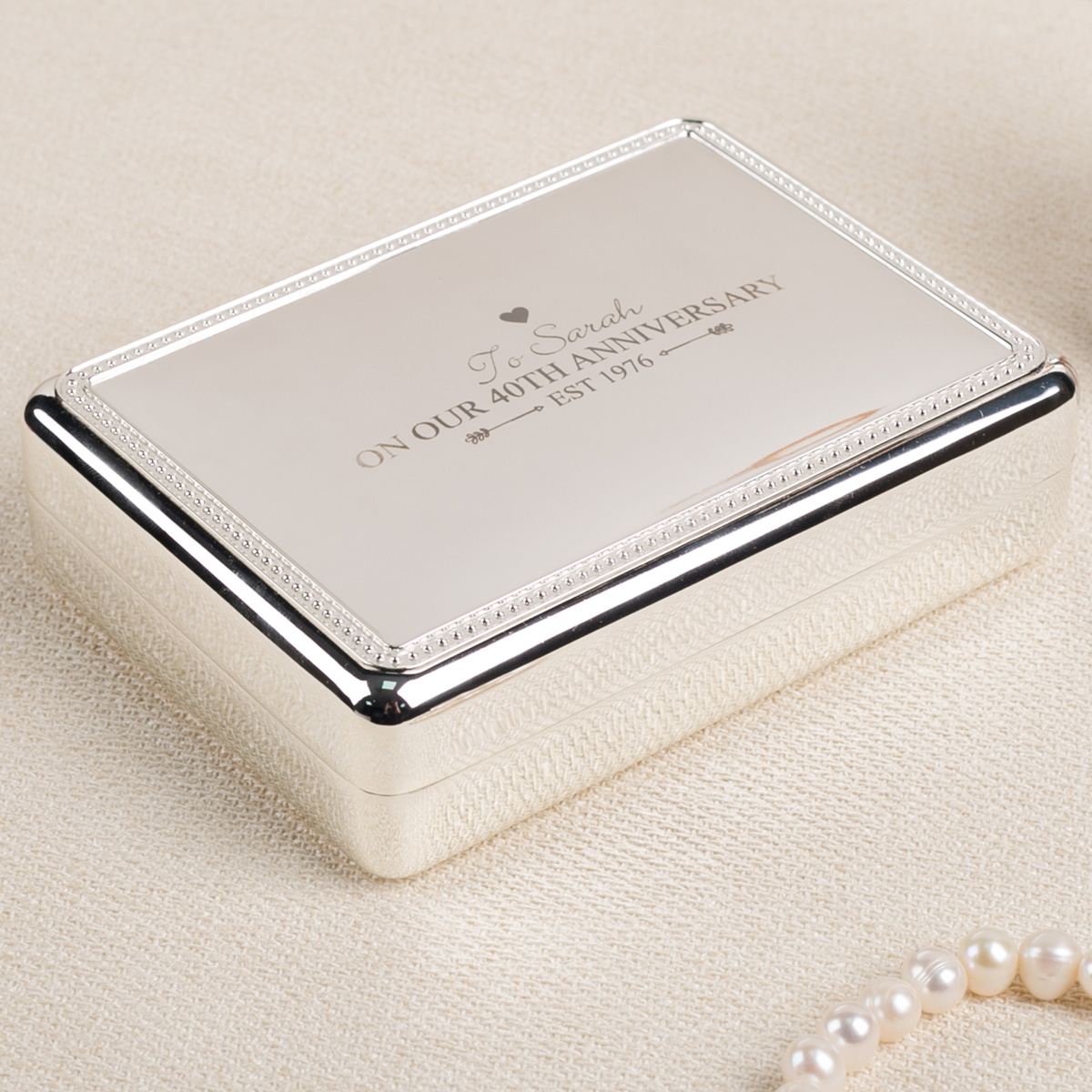 Image of Engraved Jewellery Box - On Our 40th Anniversary