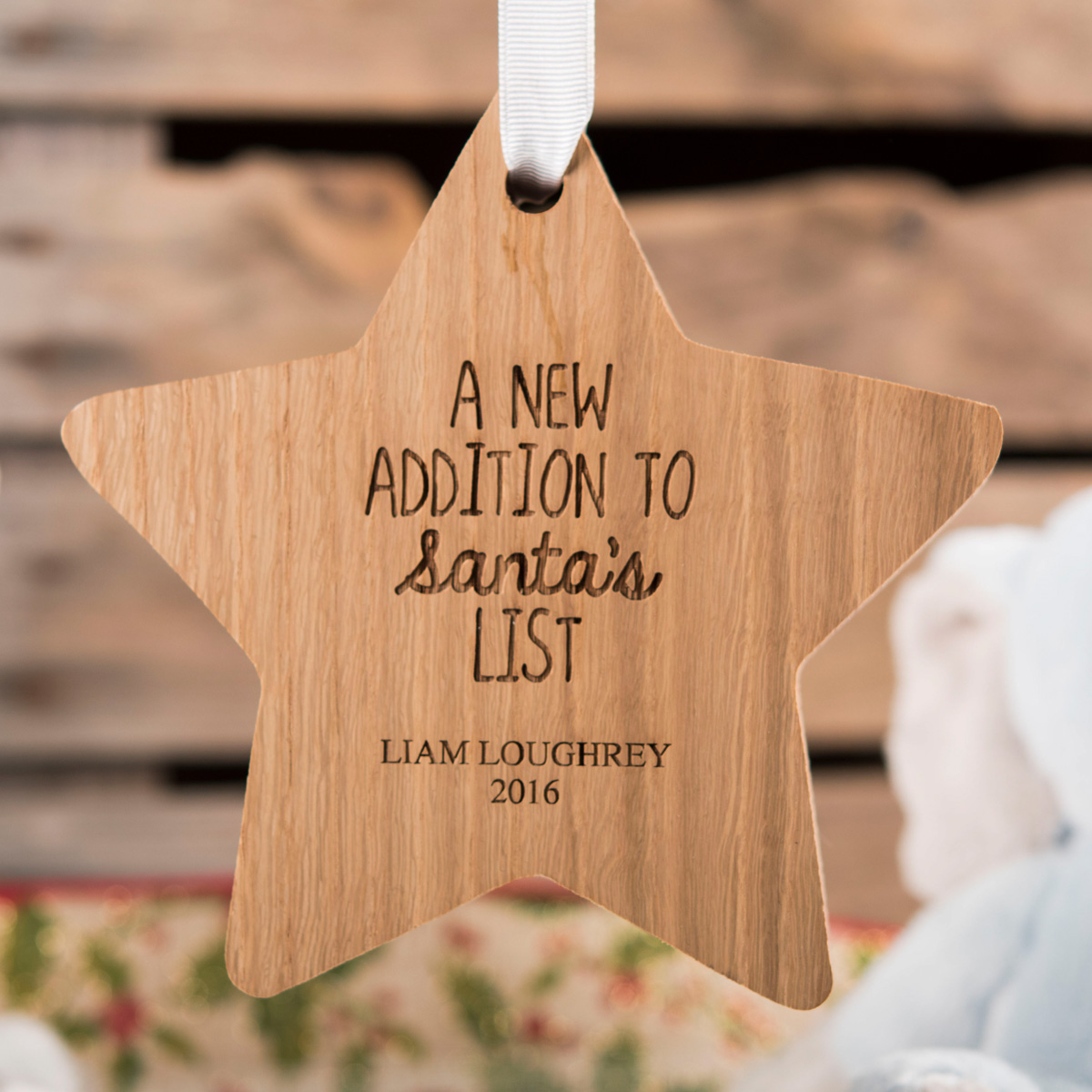 Personalised Hanging Wooden Star - New Addition To Santa's List