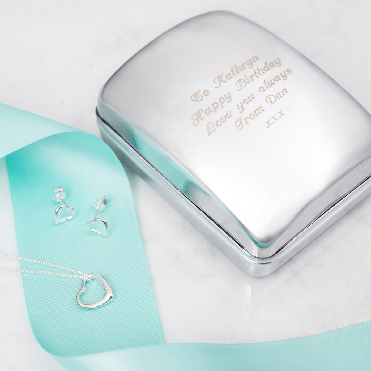Engraved Jewellery Box With Sterling Silver Heart Necklace & Earrings