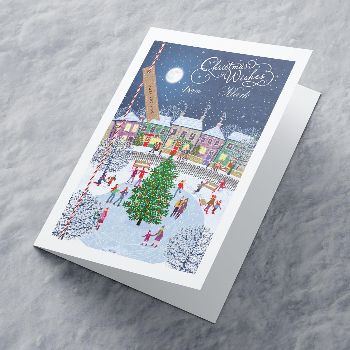 Personalised Christmas Card  Ice Skating Scene