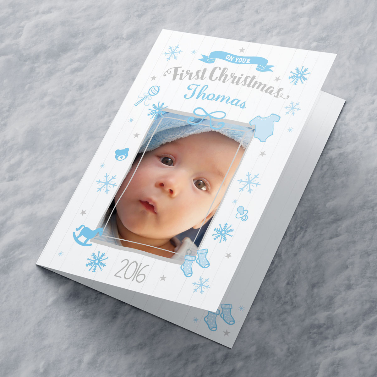 Photo Upload Christmas Card - Blue First Christmas