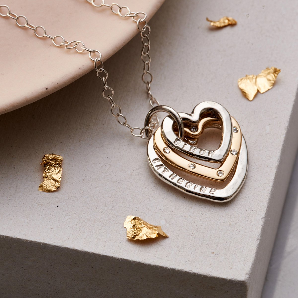 Personalised Posh Totty Designs Diamond Family Names Heart Necklace
