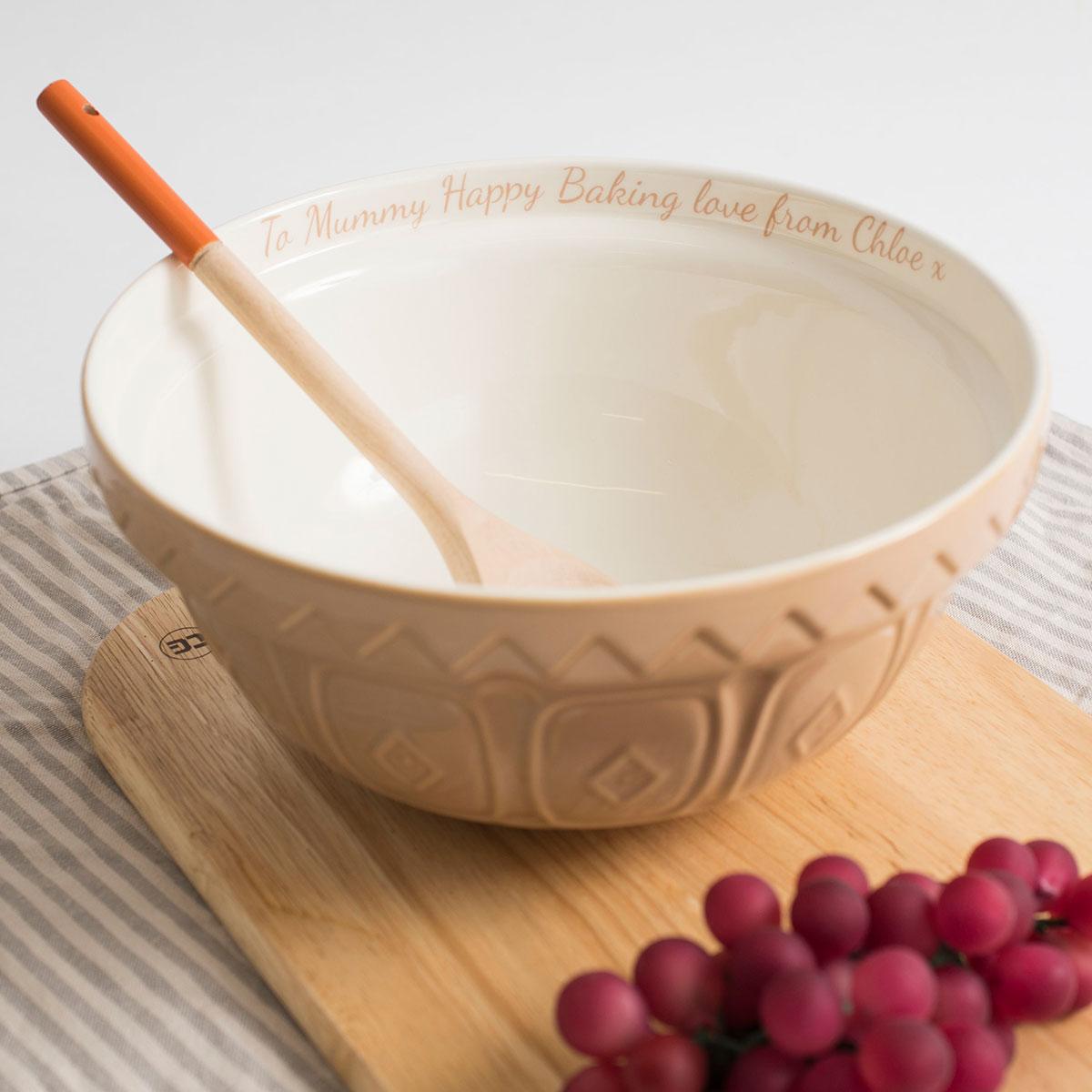 Personalised Tan Mixing Bowl
