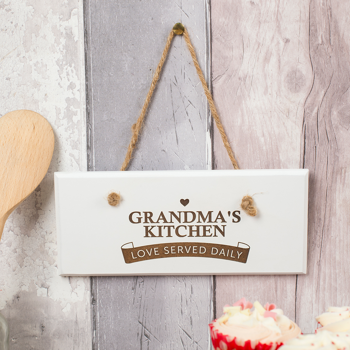 Personalised Hanging White Wooden Sign  Love Served Daily