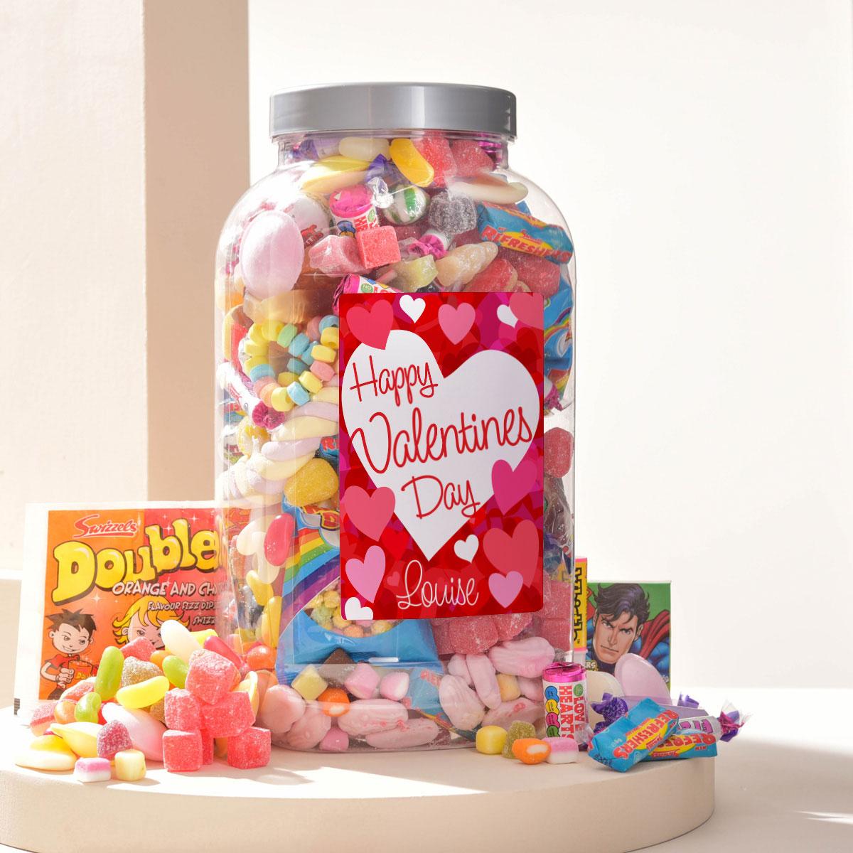 Personalised Retro Sweet Jar  Happy Valentines Day