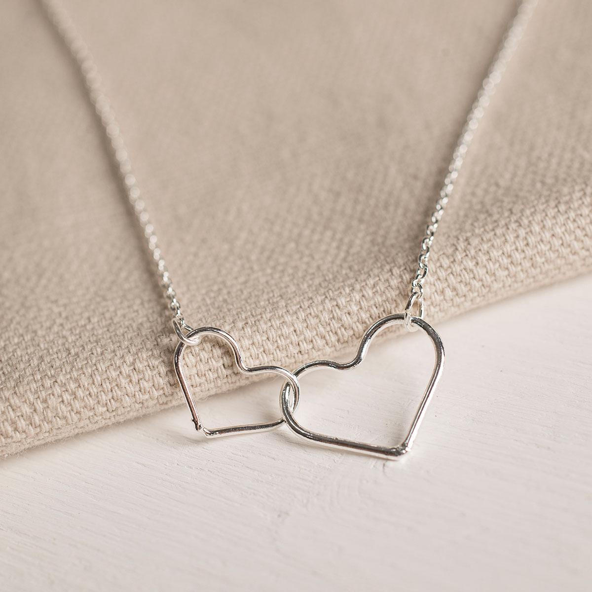 Estella Bartlett Linked Heart SliverPlated Necklace