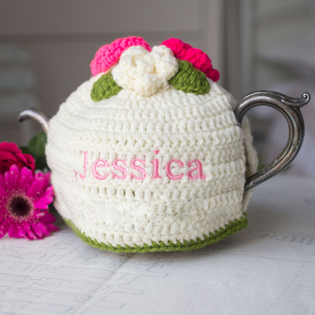 Personalised Crochet Floral Tea Cosy