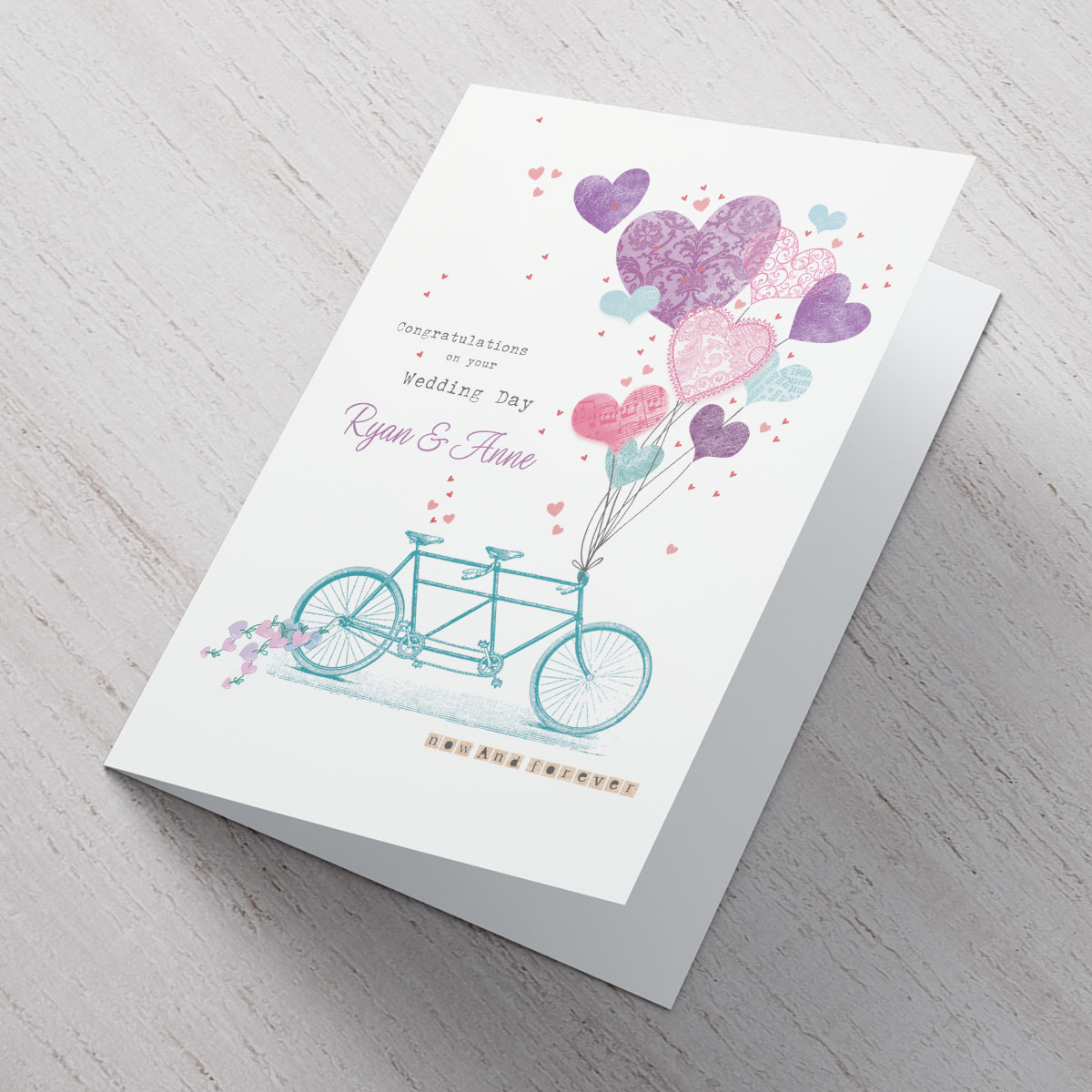 Personalised Wedding Card  Tandem Bike With Balloons