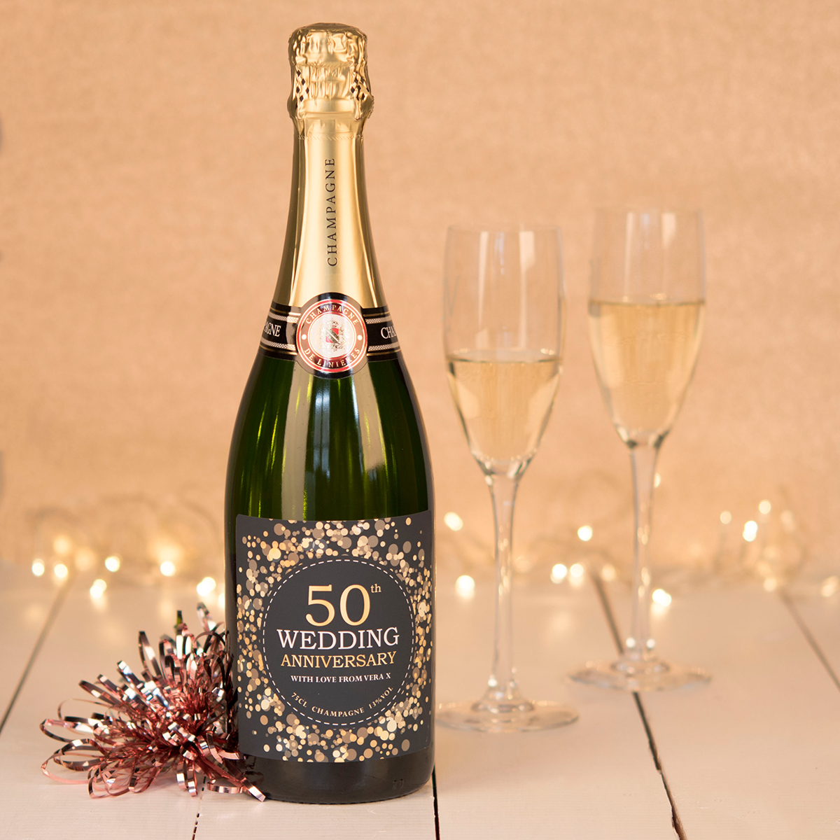 Luxury Personalised Champagne  50th Wedding Anniversary