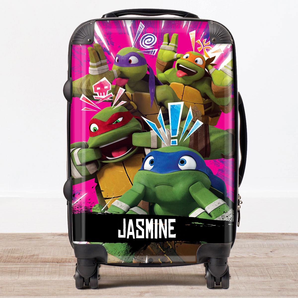 Personalised Childrens Trolley Suitcase  Teenage Mutant Ninja Turtles Pink