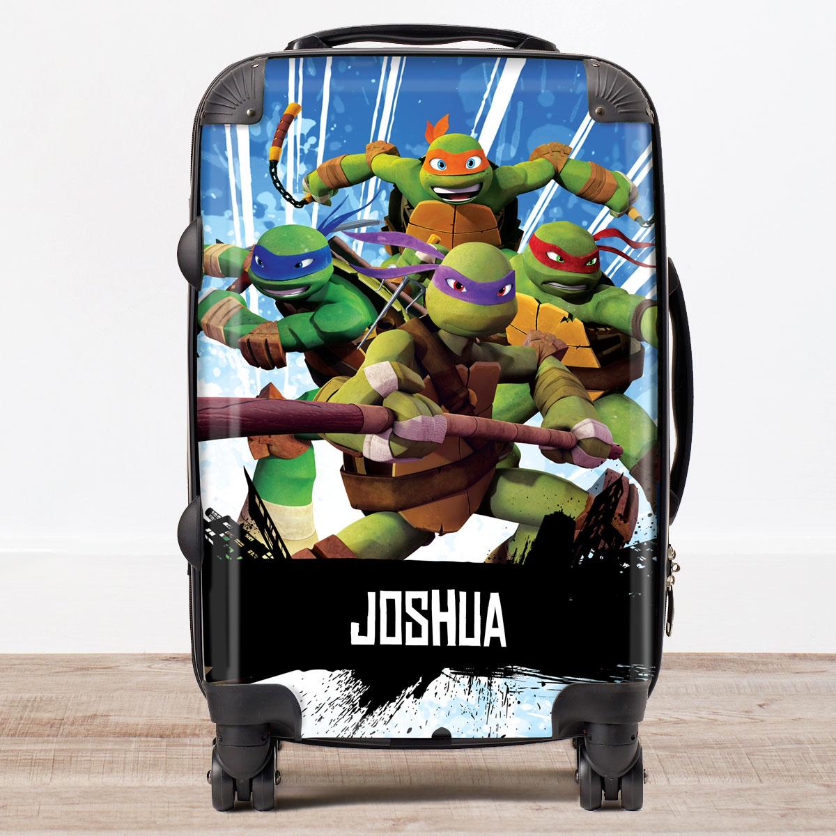 Personalised Childrens Trolley Suitcase  Teenage Mutant Ninja Turtles Blue
