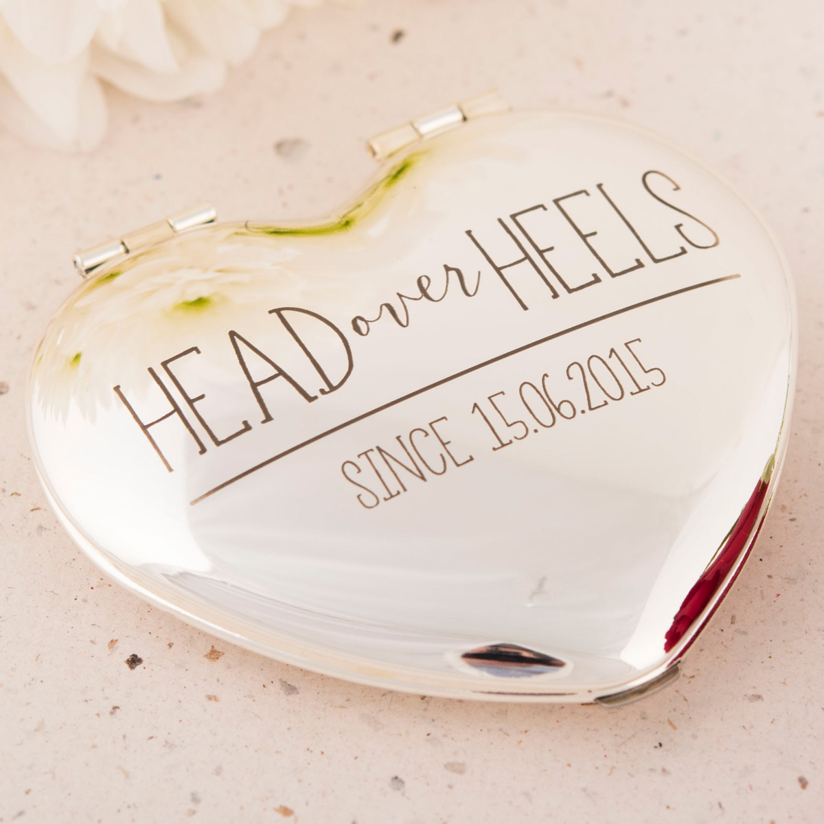 Engraved Heart Compact Mirror  Head Over Heels