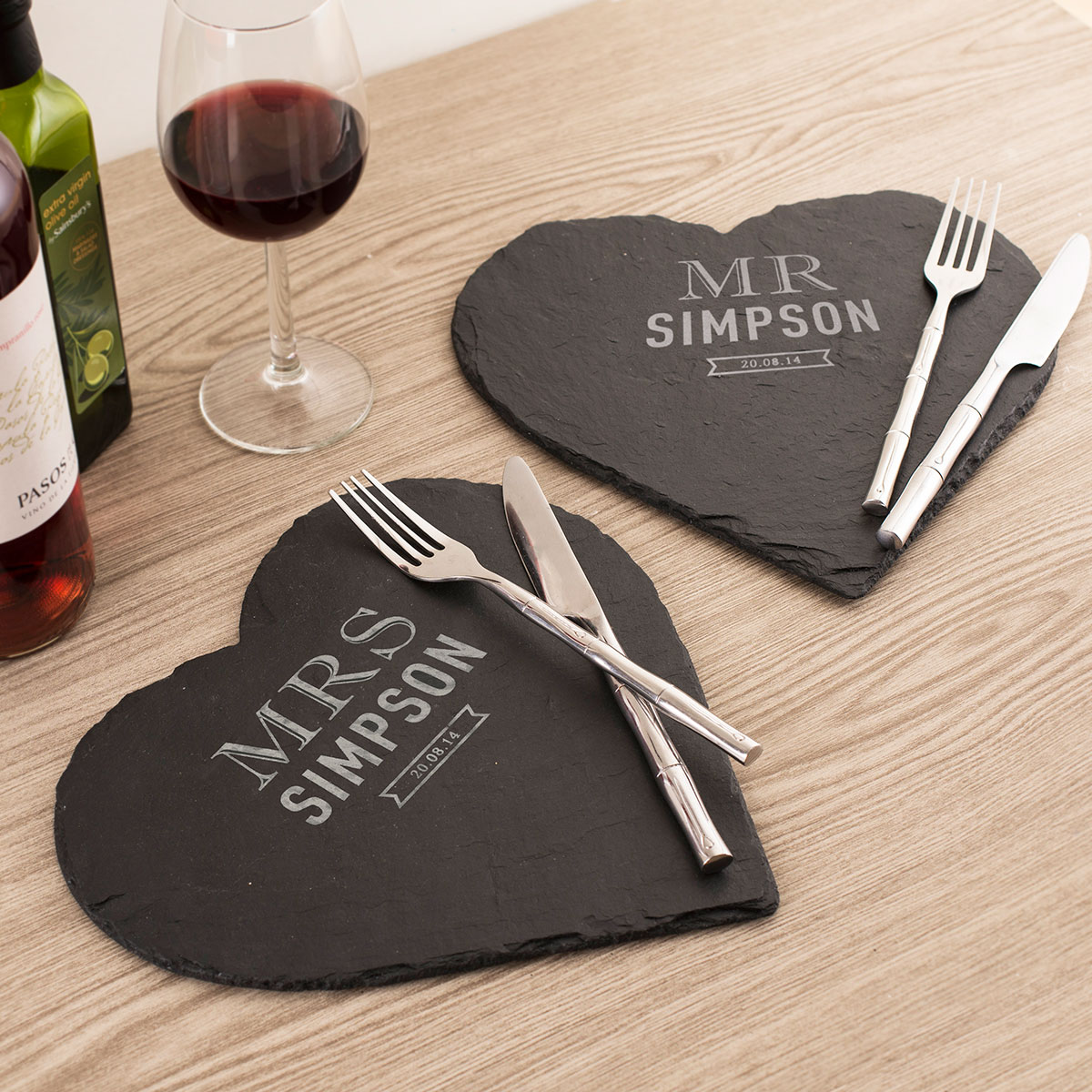 Image of Engraved Set Of 2 Heart-Shaped Slate Placemats - Mr & Mrs