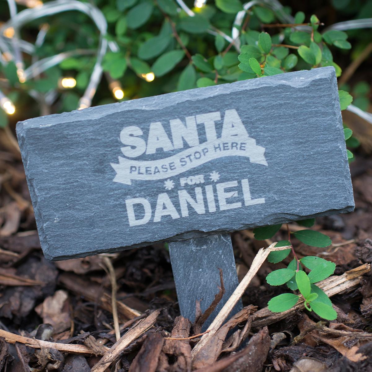 Engraved Slate Marker - Santa Stop Here